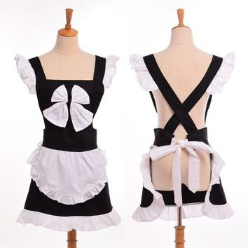 Women Sexy Japanese Bow Apron Cute Princess Maid Cosplay Ruffles Aprons Homewear