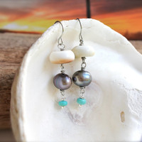 Shell and Pearl Earrings, jewelry from Hawaii for beach brides by Mermaid Tears