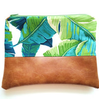 9x7 | Green Palm | Faux Leather Clutch, Makeup Bag, Vegan, Leather, Purse, Camel, Wristlet, Fold Over Clutch, Floral, Tropical, Palm Tree
