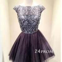 Short Sequin Rhinestone round neckline Prom Dresses, Homecoming Dresses