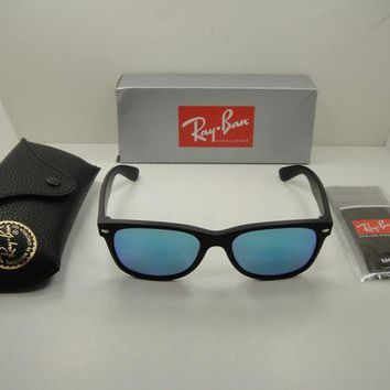 Kalete RAY-BAN NEW WAYFARER SUNGLASSES RB2132 622/17 BLACK/BLUE FLASH LENS 52MM, NEW!