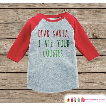 Funny Kids Christmas Outfit - Dear Santa I Ate Your Cookies Onepiece or Shirt - Kids Holiday Outfit - Boy Girl, Kids, Baby, Toddler, Youth