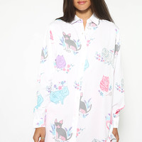 Garden Cats Shirt - White Print