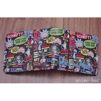 Rick and Morty Bifold Wallet Coin Zipper Pocket Short Purse Student Photo Card Holder Character Fatshion Wallets New