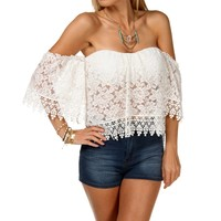 Sale-white Off The Shoulder Lace Crop Top
