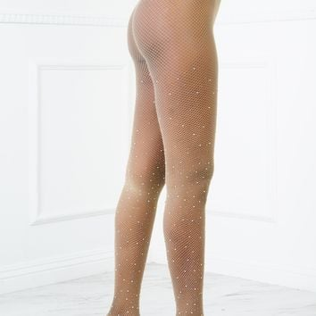 Star Dust Fishnet Stockings - Nude
