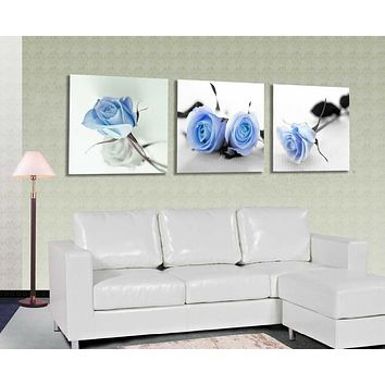 3 Piece free shipping Hot Sell Modern Wall Painting blue Roses Flower Home Decorative home Art Picture Paint on Canvas Prints