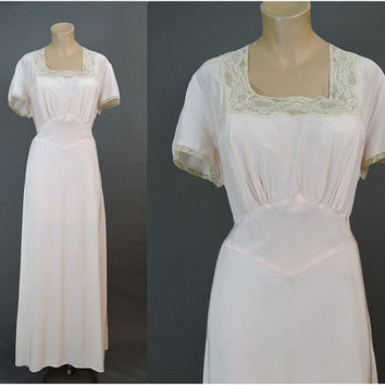 1940s XL Rayon Nightgown 42 Bust, Vintage 40s Artemis Pale Pink Rayon Plus Size Lingerie