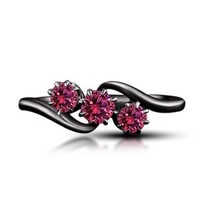 1.25ct Pink Sapphire Black Rhodium Over 925 Sterling Three Stone Promise Ring 5