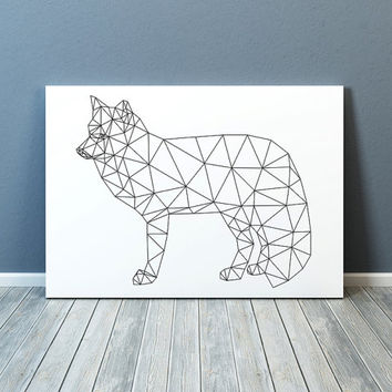 Minimal decor Geometric fox print Line art Animal poster TO324