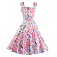 Printing Suspender Dress Woman Big Peplum   S