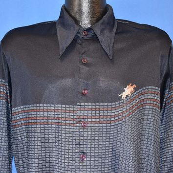 70s Horse Racing Big Collar Nylon Disco Shirt Large