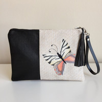 Butterfly Embroidery Clutch, Black Genuine Leather Clutch ,Leather Clutch Purse,Embroidered Clutch Bag,Zebra Print,Butterfly Clutch Bag