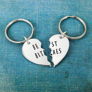 Best Bitches Keychains - Gift for Best Friend - Best Friends - BFF - Heart Keychain
