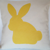 "Pillow Cover 18"" - Handpainted Easter Bunny"