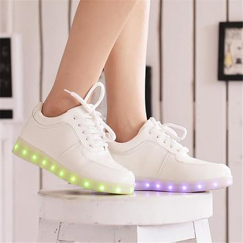 Women casual led shoes for adults colorful leather sneakers women shoes led luminous shoes woman tenis feminino