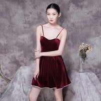 Wine Red Spaghetti Strap Pleated Mini Skater Dress