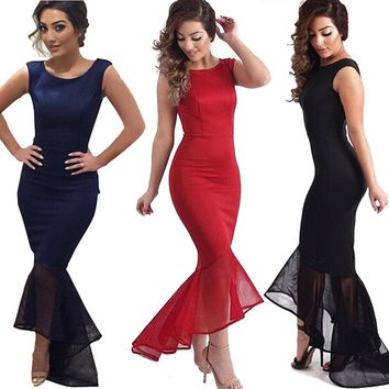 2018 New Fashion Hot Formal Women Sexy Long Evening Party Ball Prom Gown Long Sleeveless Mermaid Dress