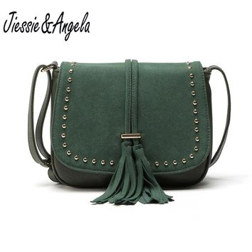 Jiessie&Angela New Women Tassel Messenger Bags Vintage Leather Handbag Famous Brand Women Fashion Bag Crossbody Shoulder Purse