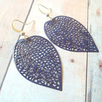 W I S T E R I A - Dark Plum Purple Lace Leaf Hand Painted Metal Filigree Silver Dangle Earrings