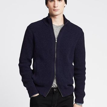 Textured Navy Sweater Jacket