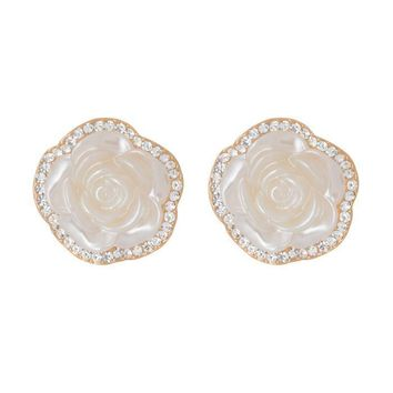 Clear Austrian Crystal 3D White Roses Flowers Stud Earrings in 14K Gold Plated