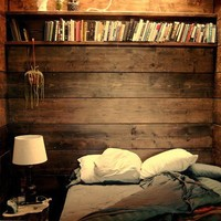 wood wall plaid blanket  books owls