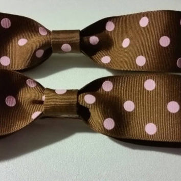 Large Brown with Pink Polka Dots Hair Bow Barrettes Hair Bows Hair Accessories Large Bows Rockabilly Bows Rockabilly Hair Accessories