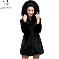 Superior quality Plus size M~5XL New Women Mink Fur Coat Elegant Slim Fox Fur Collar Mink Coat Fur jacket Natural Fur Coat HF420