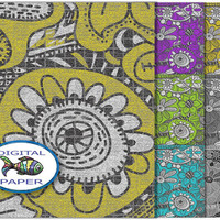 Doodling Zentangle textile digital paper Instant download Scrapbook paper set Printable Pack backgrounds yellow green grey violet turquoise