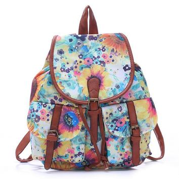 Day-First™ Flower Painting College College School Bag Travel Bag Canvas Lightweight Backpack