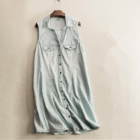 Spring and summer fashion women's chest pocket denim sleeveless gray shirt