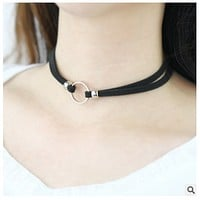 South Korean circle black neck chain imitation deerskin flannelette collar girl with a short style necklace Choker