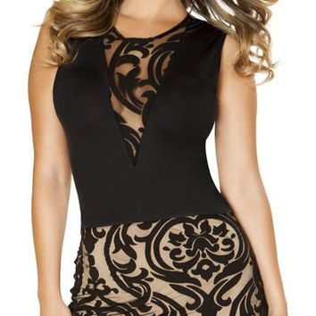 Sexy Hakkasan Two-Tone Sheer Panel Damask Sleeveless Dress