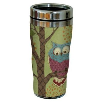 Tree-Free Greetings sg23431 Whimsical Owl on Green by Paul Brent Sip 'N Go Stainless Steel Tumbler, 16-Ounce