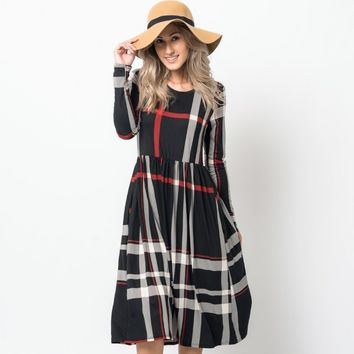 Thin Plaid Midi Dress w/ Pockets