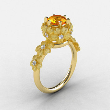 14K Yellow Gold Citrine Diamond Flower Wedding Ring, Engagement Ring NN109S-14KYGDCI