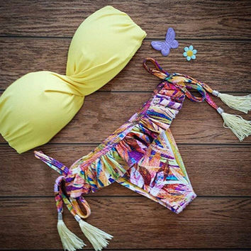 Yellow Triangle Swimsuit Swimwear Brazilian Bathing Suit