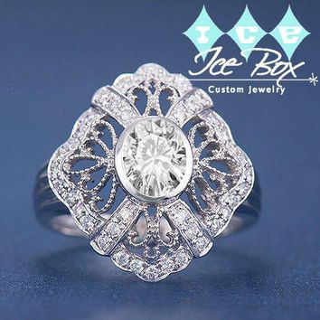 Forever Brilliant Moissanite  Engagement Ring 5x7mm Oval Cut FB Moissanite set in a 14k White Gold Diamond Filigree Halo Setting
