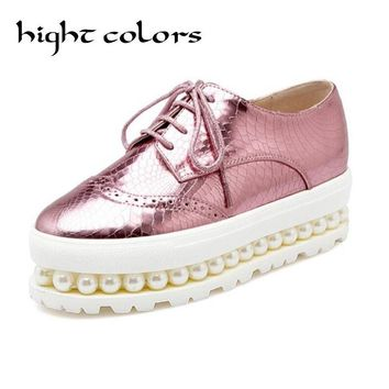 Sliver Pink Oxfords Shoes Woman 2018 Platform Creepers Patent Leather Flats Casual Lace-Up Loafers Round Toe Women Brogue Shoes