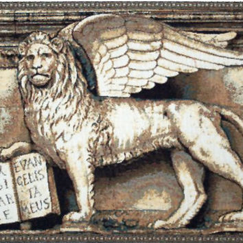 Lion with Books Tapestry Wall Art Hanging