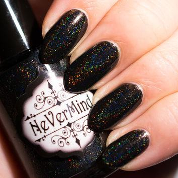 Black Linear Holo Nail Polish - Holographic Nail Lacquer - Full Size Bottle / Hamartophilia