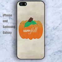 happy fall Pumpkin  colorful iPhone 5/5S case Ipod Silicone plastic Phone cover Waterproof