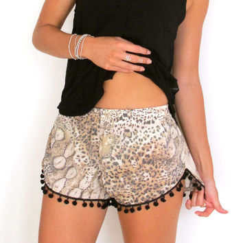 Leopard Pom Pom Shorts - Leopard Print with Large Black Pom Pom's