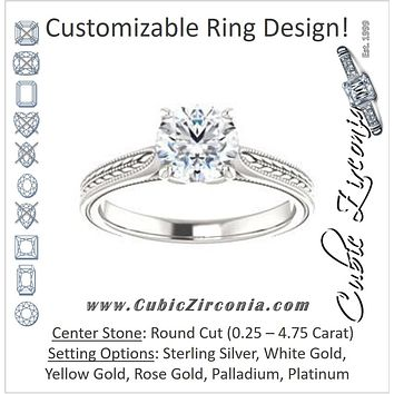 Cubic Zirconia Engagement Ring- The Dulcia (Customizable Round Cut Solitaire with Wheat-inspired Band Filigree)