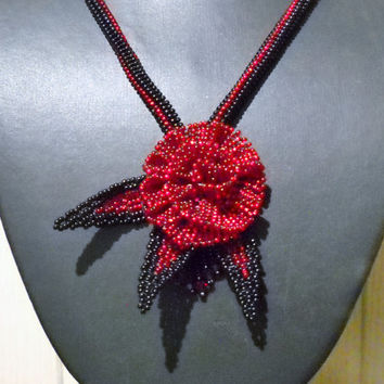Red Black Beaded Flower Necklace With Fringes and Swarovski crystal, flower jewelry, fringe necklace, statement necklace, unique jewelry