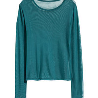 Long-sleeved Mesh Top - from H&M