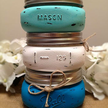Painted and Distressed Mason Jar Wedding Favors, Party Favors, Mason Jar Candle Holder, Gift ideas, Rustic Decorations, Wedding Decorations