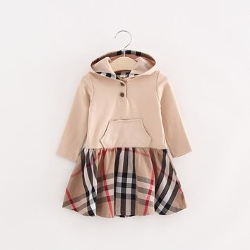 Girls princess dress lovely Black Khaki Plaid Long sleeves Spring and Autumn 100%cotton Hooded dresses for 4 5 6 7 8 9 10 years