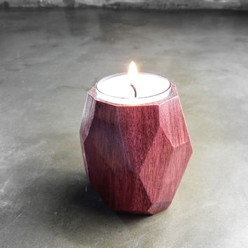 W/S Geometric tea light candle holder, Purpleheart Hardwood Faceted